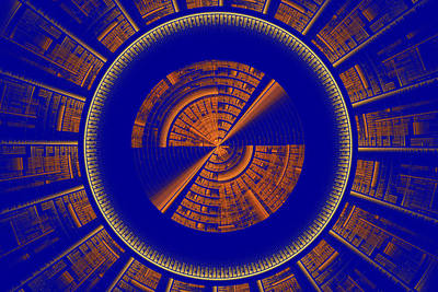 Backdrop Digital Art - Futuristic Tech Disc Blue And Orange Fractal Flame by Keith Webber Jr