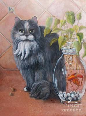 Still Life With Fish Painting - Fuzz And Homer by Marlene Book