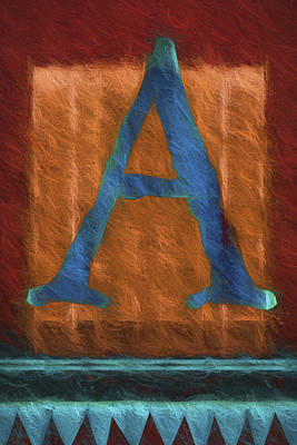 Fuzzy Digital Art - Fuzzy Letter A by Carol Leigh