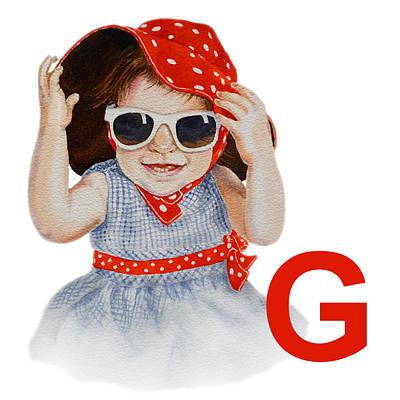 Red Hat Painting - G Art Alphabet For Kids Room by Irina Sztukowski