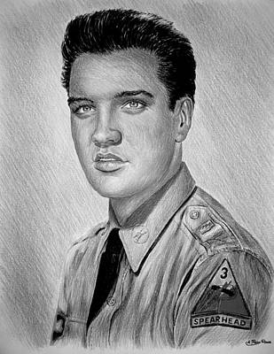 Blue And Grey Drawing - G I Elvis  by Andrew Read