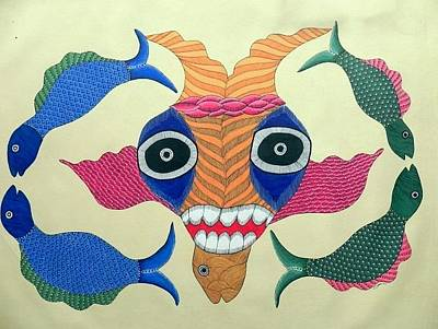 Gond Tribal Art Painting - G-js 02 by Japani Shyam
