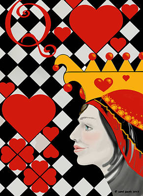 Hearts Painting - Gabby Queen Of Hearts by Carol Jacobs