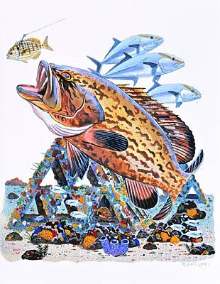 Sanibel Painting - Gag Grouper by Carey Chen