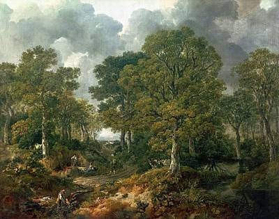 Gathering Photograph - Gainsboroughs Forest Cornard Wood, C.1748 Oil On Canvas by Thomas Gainsborough