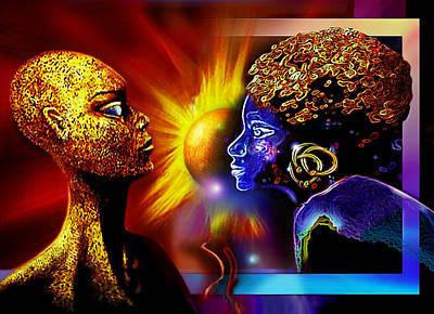 Galactic  Sisters Print by Hartmut Jager