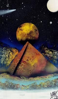 Galaxy Desert Pyramids Print by Marc Chambers