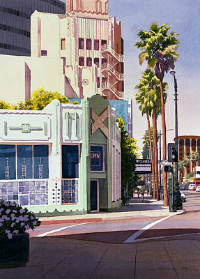 Historic Buildings Painting - Gale Cafe On Wilshire Blvd Los Angeles by Mary Helmreich