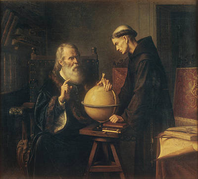 Galileo Demonstrating The New Astronomical Theories At The University Of Padua Print by Felix Parra