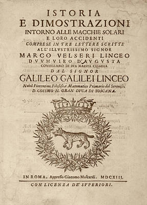 Galileo On Sunspots Print by Library Of Congress
