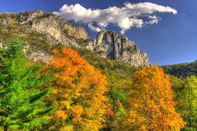 Galloping Cumulus Above Seneca Rocks - Seneca Rocks National Recreation Area Wv Autumn Mid-afternoon Print by Michael Mazaika