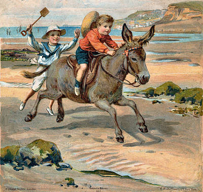Galloping Donkey At The Beach Print by Unknown