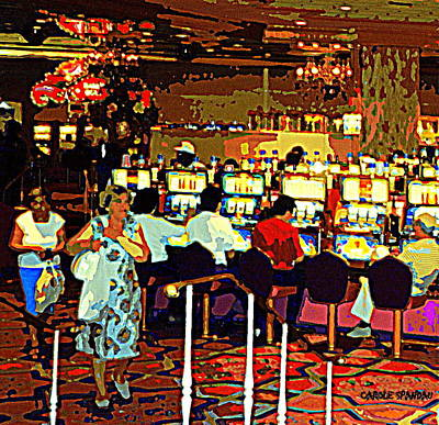 Interior Scene Painting - Galloping Gambling Grannies Cut A Casino Rug Heading Home With Their Goody Bag Of Winning Quarters by Carole Spandau
