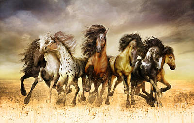 Pinto Digital Art - Galloping Horses Full Color by Shanina Conway
