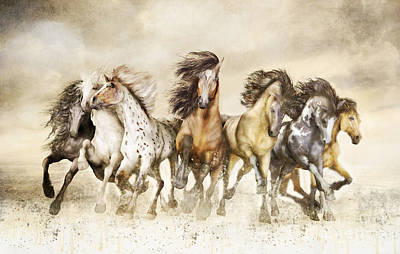 Animal Digital Art - Galloping Horses Magnificent Seven by Shanina Conway