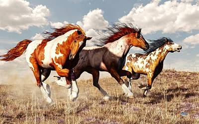 Pinto Digital Art - Galloping Mustangs by Daniel Eskridge