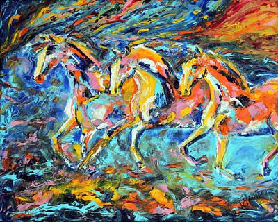 Contemporary Horse Painting - Galloping Sunset by Jennifer Godshalk