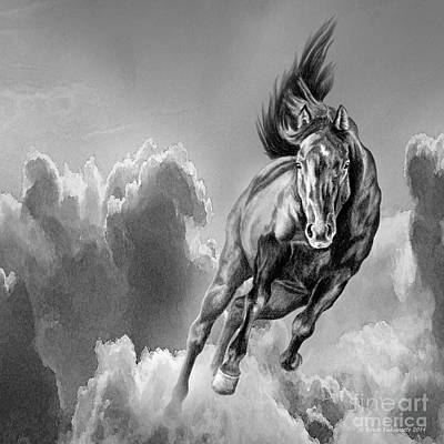 Storm Drawing - Galloping Wild Black Horse Spirit by Renee Forth-Fukumoto