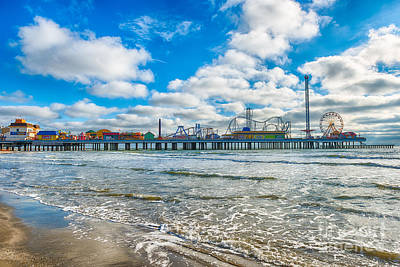 Landscape Photograph - Galveston Pleasure Pier Over Gulf by Tod and Cynthia Grubbs