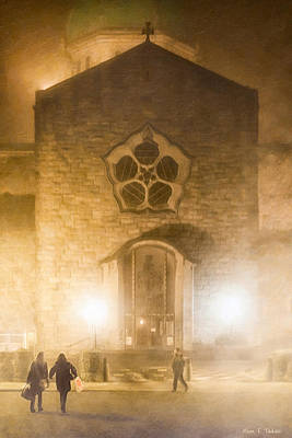 Galway Cathedral In A Winter Fog Print by Mark E Tisdale