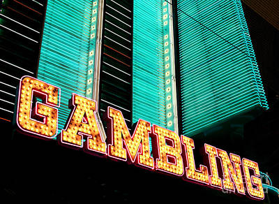 Freemont Street Photograph - Gambling by John Rizzuto