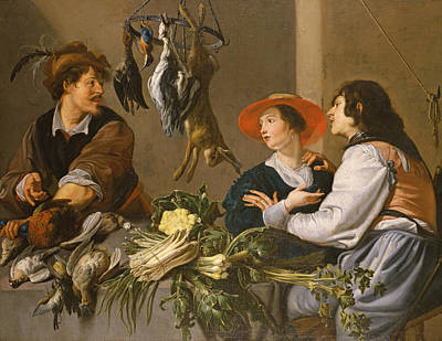 Game And Vegetable Sellers Oil On Canvas Print by Theodor Rombouts