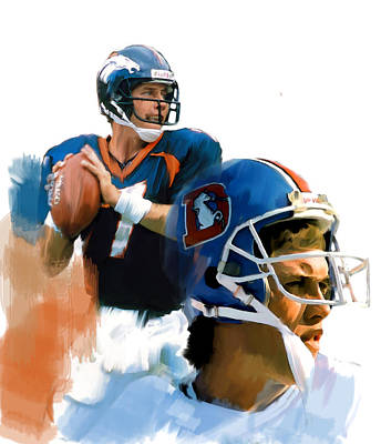 Denver Drawing - Game Elway  John Elway by Iconic Images Art Gallery David Pucciarelli