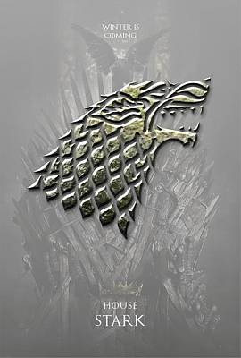 Lannister Digital Art - Game Of Thrones - House Stark by Helena Kay