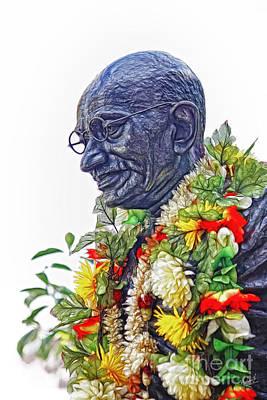 Mahatma Gandhi Photograph - Gandhi Statue With Garlands by Nishanth Gopinathan