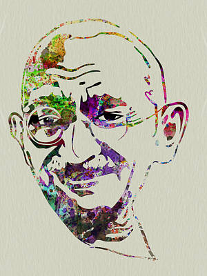 Liberation Digital Art - Gandhi Watercolor by Naxart Studio