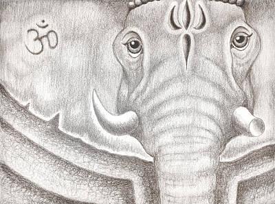 Blessings Drawing - Ganesh by Adam Wood
