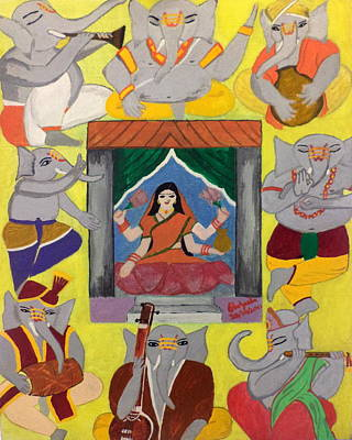 Devotional Painting - Ganesh Lakshmi by Pratyasha Nithin