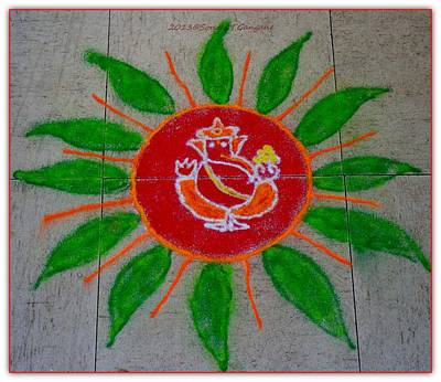 Rangoli Pastel - Ganesh Rangoli by Sonali Gangane