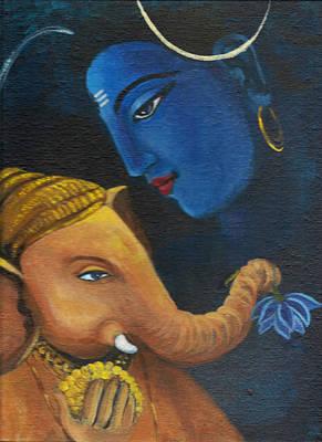 Ganesha And Shiva Print by Asha Sudhaker Shenoy