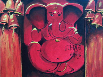 Religious Drawing - Ganesha by Anil Nene