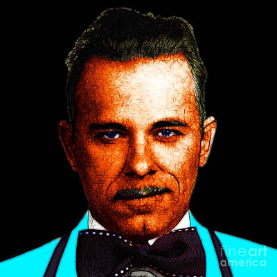Gangman Style - John Dillinger 13225 - Black - Color Sketch Style Print by Wingsdomain Art and Photography