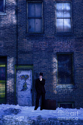 Gangster On A Dark Street Print by Diane Diederich