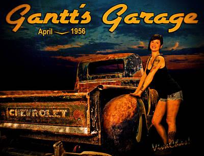 Gantt's Garage Moonlight Rat Rod Chevy Pickup An Manda Print by Chas Sinklier