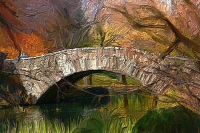 Abstract Beach Landscape Digital Art - Gapstow Bridge In Central Park by GCannon