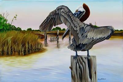 Pylon Painting - Gar Lake Pelican 2 by Phyllis Beiser