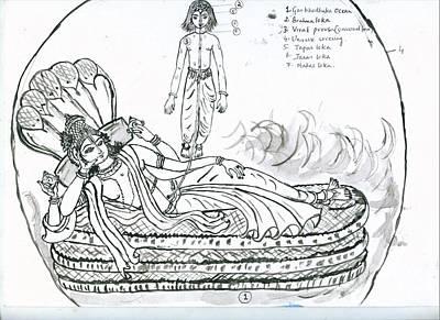 Planetary System Painting - Garbodakasayi Visnu by Parimala Devi Namasivayam