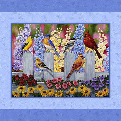 Chickadee Painting - Garden Birds Duvet Cover Blue by Crista Forest
