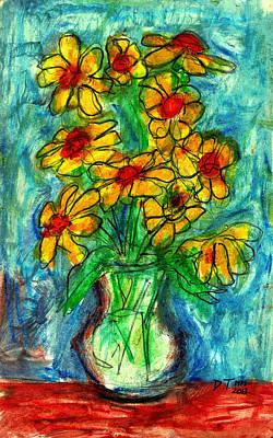 Drawing - Garden Flower Mono-print by Don Thibodeaux
