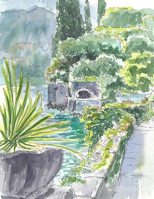 Lake Como Painting - Garden In Varenna by Laura Sapko