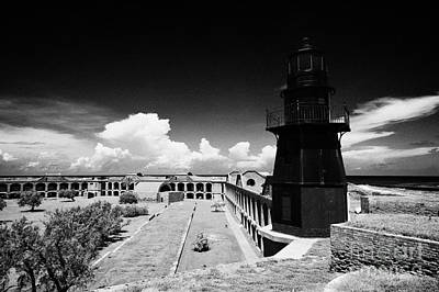 Garden Key Lighthouse Terreplein And Interior Soldiers Barracks On Fort Jefferson Dry Tortugas Natio Print by Joe Fox