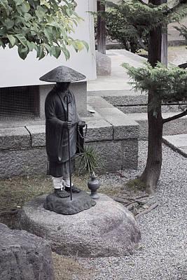 Zen Temple Garden Monk - Kyoto Japan Print by Daniel Hagerman