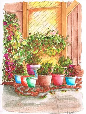 Pottery Painting - Garden Near My Apartment In West Hollywood - California by Carlos G Groppa