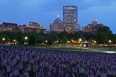 Cityscape Photograph - Garden Of American Flags In The Boston Common by Juergen Roth