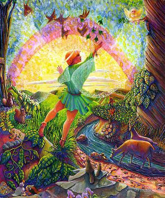 Of Toddlers Painting - Garden Of Eden Angel by Jacquelin Vanderwood