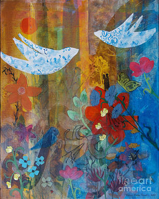 Lovebird Painting - Garden Of Love by Robin Maria Pedrero